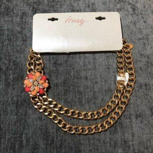 Icing Flower Statement Necklace Gold Chain NWT